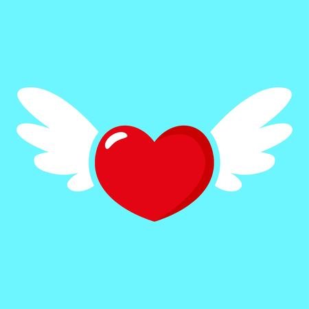 Red heart with white wings icon isolated on blue background. Modern vector pictogram for web graphics. St. Valentines Day icon. Vector illustration EPS 10.