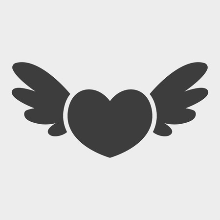 Heart with wings icon isolated on white background. Flat design style. Modern vector pictogram for web graphics. St. Valentines Day icon. Vector illustration EPS 10.