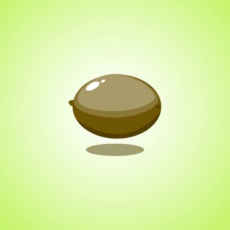 Kiwi icon isolated on green background. Colorful cartoon fruit icon. Vector illustration EPS 10.