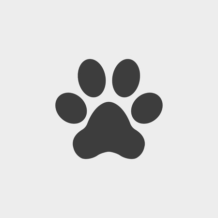 Paw Prints icon in flat design isolated on white background. Vector illustration