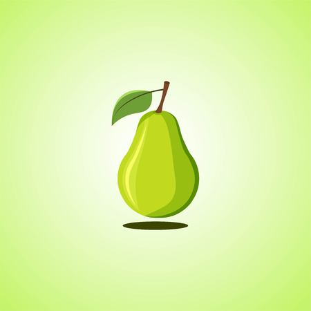 Green pear icon isolated on green background. Colorful cartoon fruit icon. Vector illustration EPS 10.