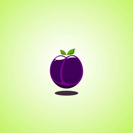 Plum icon isolated on green background. Colorful cartoon fruit icon. Vector illustration EPS 10.