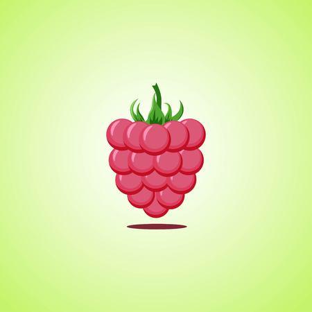 Raspberries icon isolated on green background. Colorful cartoon fruit icon. Vector illustration EPS 10. Illustration