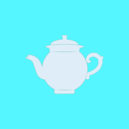 Realistic silhouette kettle, teapot icon isolated on blue background. Vector illustration EPS 10.
