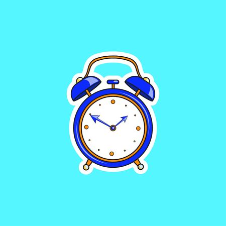 Blue comic alarm clock. Vector bright dynamic cartoon object in retro pop art style isolated on blue background. Vector illustration Illustration