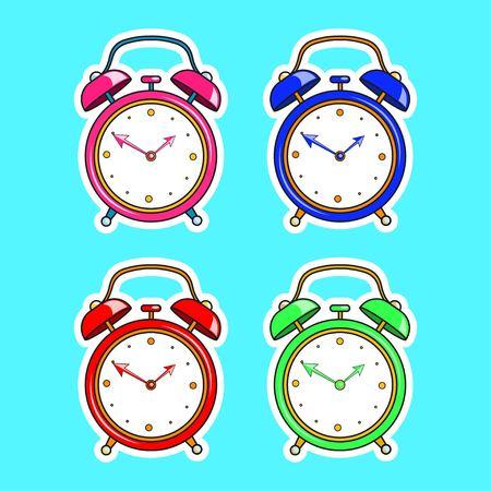 Set of bright comic alarm clock. Vector cartoon object in retro pop art style isolated on blue background. Vector illustration EPS 10. Illustration