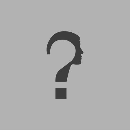 Doubt concept represented by Question mark icon in flat design isolated on gray background. Man face with question mark. Vector illustration EPS 10.