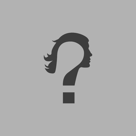 Doubt concept represented by Question mark icon in flat design isolated on gray background. Woman face with question mark. Vector illustration EPS 10. Illustration