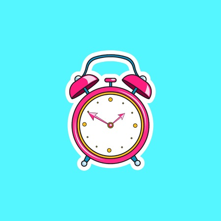 Pink comic alarm clock. Vector bright dynamic cartoon object in retro pop art style isolated on blue background.