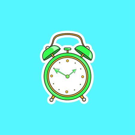 Green comic alarm clock. Vector bright dynamic cartoon object in retro pop art style isolated on blue background. Vector illustration EPS 10. Illustration