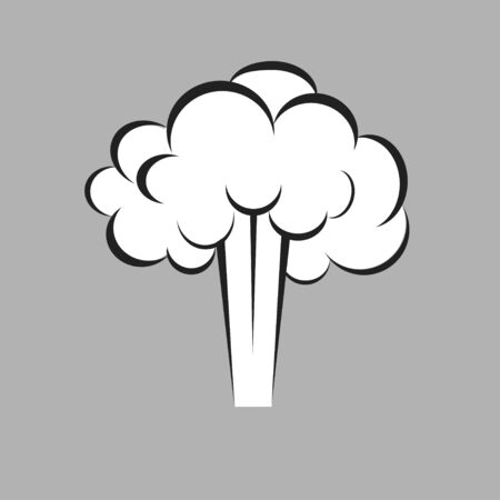 Puff smoke cloud vector icon isolated on gray background.