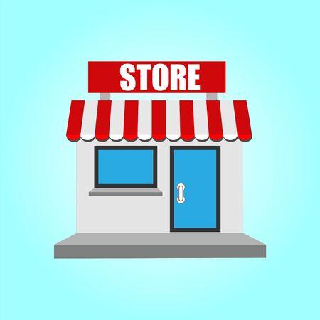 Shop or market store front exterior facade in flat design.