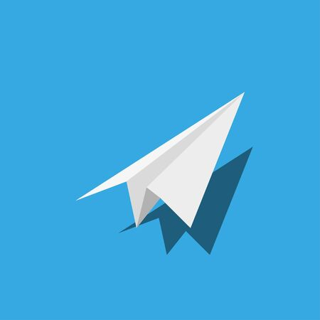 Handmade paper plane 1 with shadow in flat style Vectores