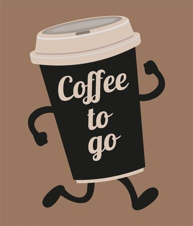 Coffee to go cup in cartoon style isolated on brown background. 向量圖像