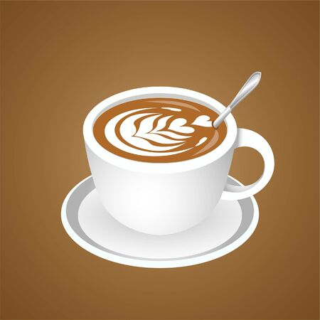 3d realistic coffee in white cup view from the side.