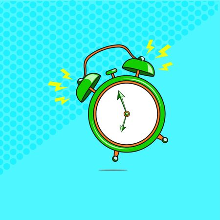 Comic alarm clock ringing. Vector bright dynamic cartoon object in retro pop art style isolated on blue background. Vector illustration EPS 10.