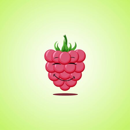 Red Simple Smiling raspberries with closed eyes Cartoon Character. Cute smiling raspberries icon isolated on green background. Vector illustration EPS 10.