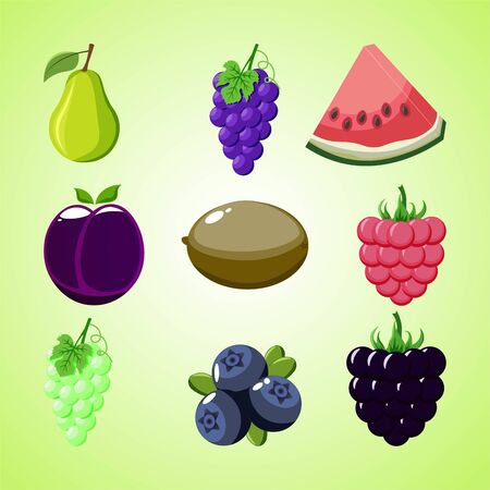White and purple grapes, raspberries, watermelon, kiwi, blackberry, blueberry, pear and plum on a green background.