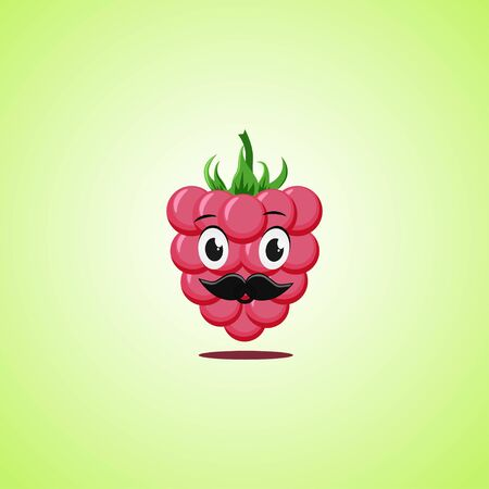 Raspberries cartoon character with a mustache. Cute laughing raspberries icon isolated on green background. Vector illustration EPS 10.