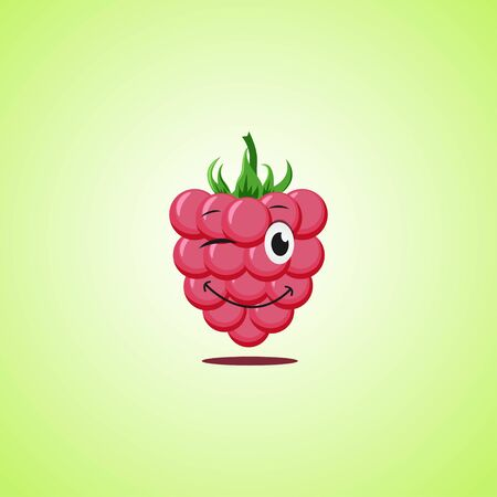 Simple winking character cartoon raspberries. Cute smiling raspberries icon isolated on green background. Vector illustration EPS 10.