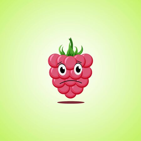 Sad cartoon raspberries symbol. Cute icon of the raspberries isolated on green background. Vector illustration EPS 10 向量圖像