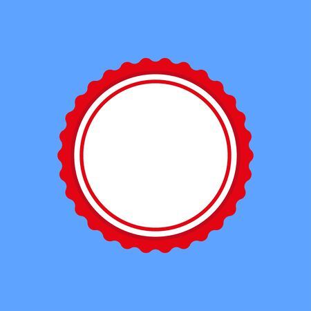 Certificate rosette circular frame template. Vector draft element for stamp seals in red color isolated on blue background. Vector illustration EPS 10.