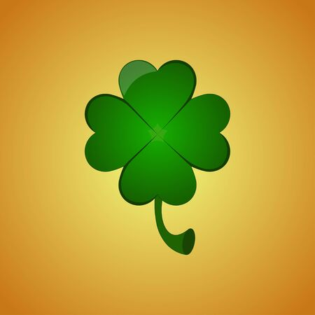 Four leaf clover on orange background. Greeting card for St. Patrick's Day. Vector illustration EPS 10. 向量圖像