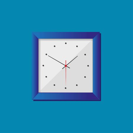 Simple realistic clock in squre blue frame on blue background. Watch on the wall. Vector illustration EPS 10.