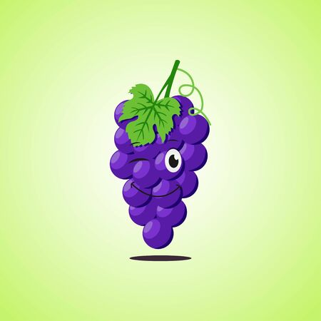Simple winking character cartoon purple grapes. Cute smiling purple grapes icon isolated on green background. Vector illustration EPS 10.