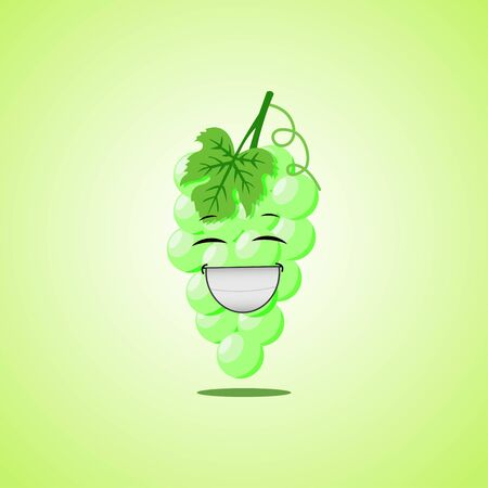Laughing cartoon green grapes symbol. Cute smiling white grapes icon isolated on green background.