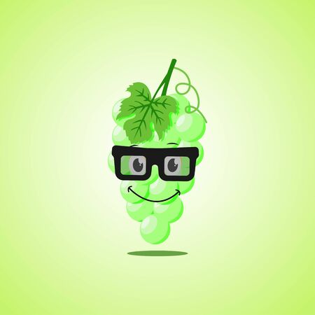 Simple smile cartoon white grapes symbol in glasses. Cute smiling white grapes icon isolated on green background.