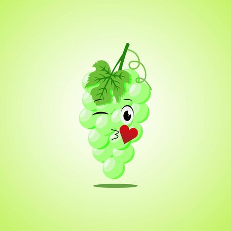 Cartoon Symbol green grapes sending an air kiss. Cute smiling white grapes icon isolated on green background. 向量圖像