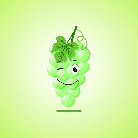 Green simple winking character cartoon white grapes. Cute smiling white grapes icon isolated on green background.