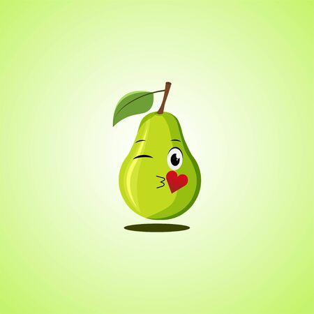 Cartoon Symbol pear sending an air kiss. Cute smiling pear icon isolated on green background. Vector illustration EPS 10.