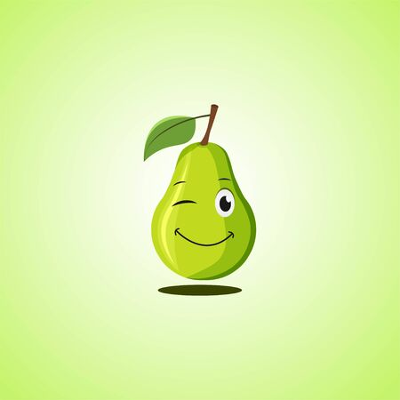 Green simple winking character cartoon pear. Cute smiling pear icon isolated on green background. Vector illustration EPS 10.