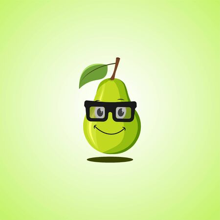 Yellow simple smile cartoon pear symbol in glasses. Cute smiling pear icon isolated on green background. Vector illustration EPS 10