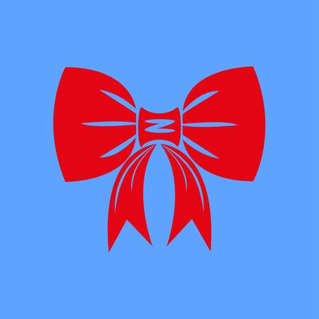 Icon of red bow isolated on blue background. Red bow is suitable for decorating cards for the holidays. Vector illustration EPS 10.