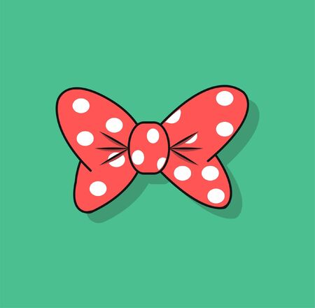 Image of a cartoon red bow with shadow on a green background. Vector illustration EPS 10. 向量圖像
