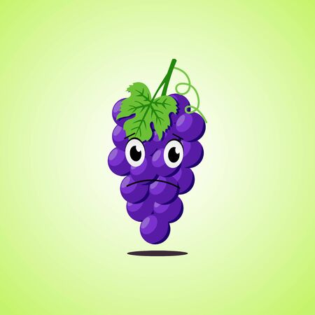 Sad cartoon purple grapes symbol. Cute icon of the purple grapes isolated on green background. Vector illustration EPS 10. 向量圖像
