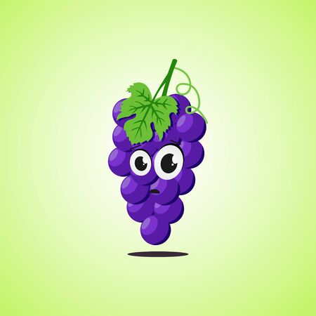 Frightened cartoon purple grapes symbol. Cute icon of the purple grapes isolated on green background. Vector illustration EPS 10.