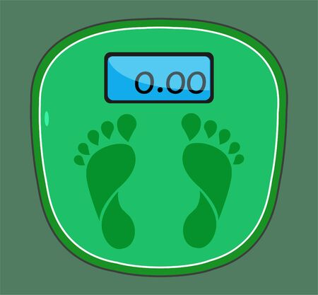 Weight scale foot icon. Scales icon isolated on green background. Vector illustration EPS 10