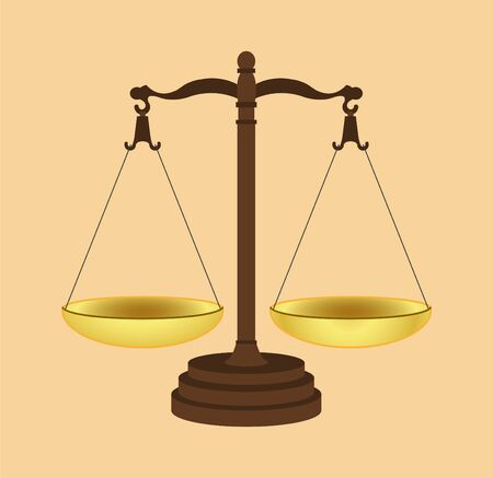 Symbol of justice. Icon of Law Scales Concept. Gold brass balance scale. Vector illustration EPS 10.
