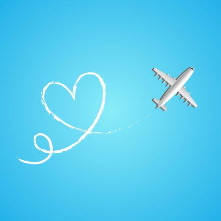 Love travel concept illustration in vector. Airplane flying and leave a white line on blue background. Vector illustration EPS 10.
