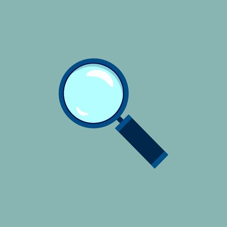 Magnifying glass icon in flat style. Search loupe on blue background. Vector design object for you business project. Vector illustration EPS 10.