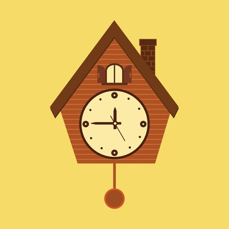 Vintage wall mounted Cuckoo clock alarm clock icon in flat design for your design isolated on yellow background. Vector illustration EPS 10. 向量圖像