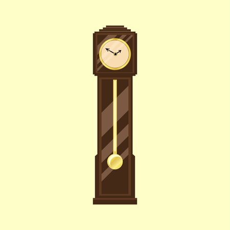 Vintage grandfather clock icon in flat design for your design isolated on yellow background. Vector illustration EPS 10. 向量圖像