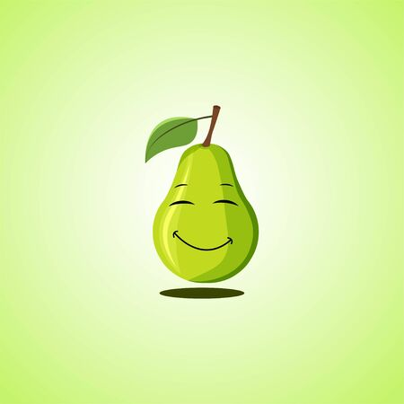 Simple Smiling pear with closed eyes Cartoon Character. Cute smiling pear icon isolated on green background. Vector illustration EPS 10.