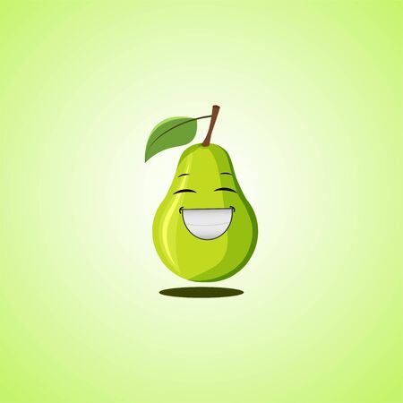 Laughing cartoon pear symbol. Cute smiling pear icon isolated on green background. Vector illustration EPS 10 向量圖像