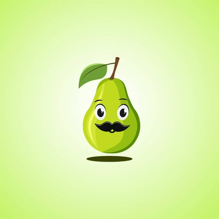 Pear cartoon character with a mustache. Cute laughing pear icon isolated on green background. Vector illustration EPS 10.