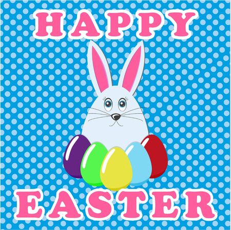 Happy Easter greeting card. An image of a hare with colorful Easter eggs. Rabbit icon. Vector illustration EPS 10.